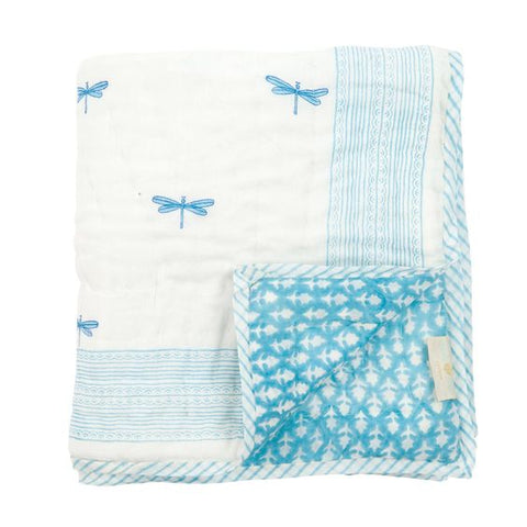 Samode Blue Dragon Fly Reversible Baby Quilt