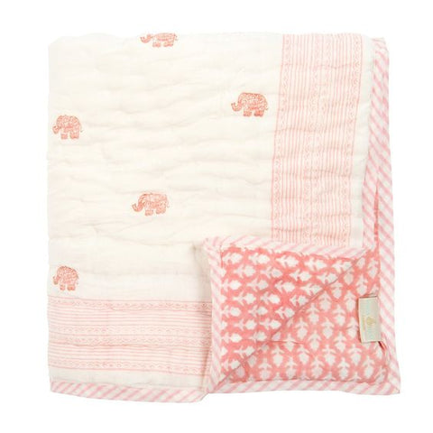 Jaipur Pink Elephant Reversible Baby Quilt