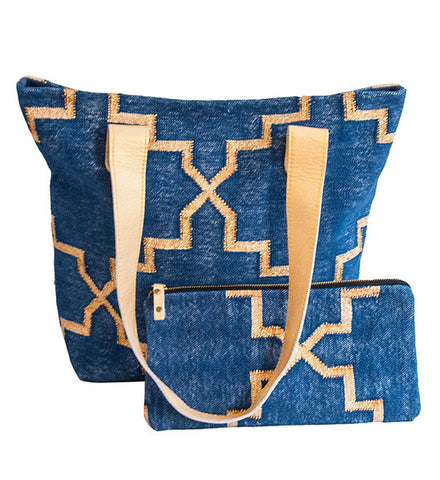 Blue & Gold Dhurrie Tote 1