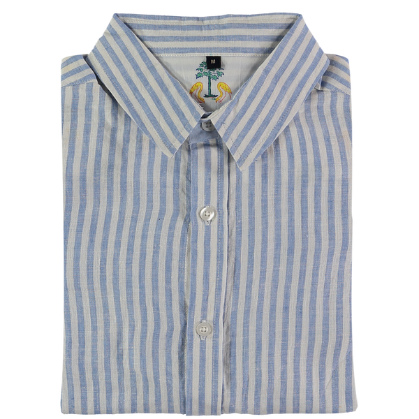 Kutch Blue Stripe Linen Shirt by Tobias Clothing. Discover the new menswear collection at The Good Place