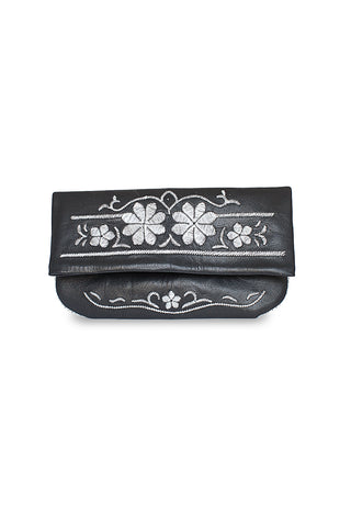 Black & Silver Leather Floral Embroidered Clutch Bag