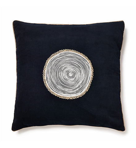 Fuji Flower Dark Blue Cushion