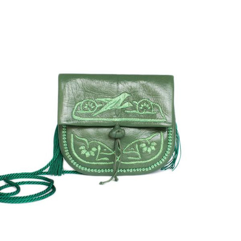 Green Leather Embroidered Mini Berber Bag
