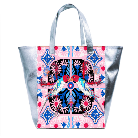 The Folk Birds Beach Bag by Jessica Russell Flint. Featuring metallic silver vegan leather and hand illustrated colourful design.
