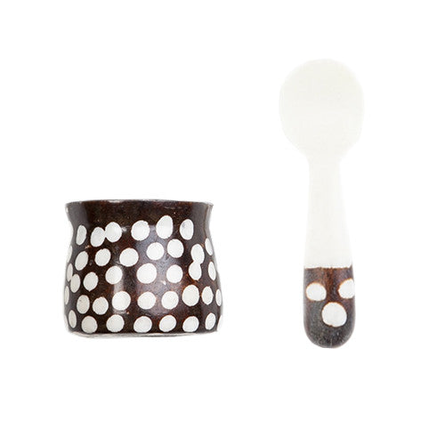 Bone Spice Pot with Spoon Dot Design