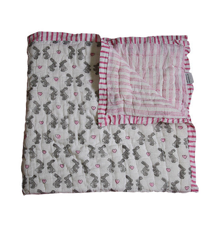 Pink Bunny Cot Quilt