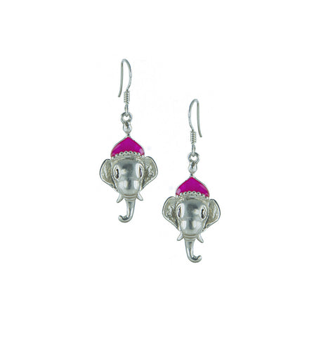 Elephant Silver Earrings with Pink Enamel