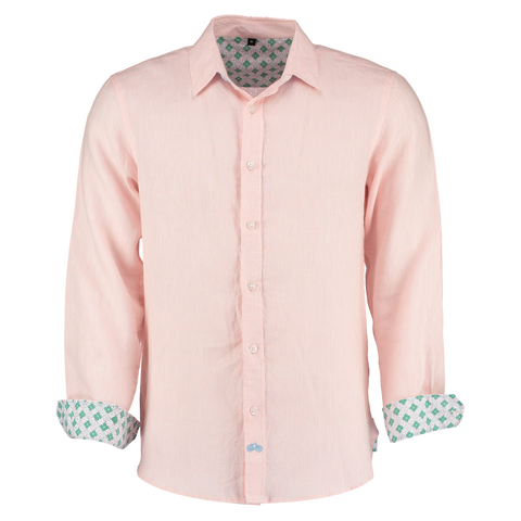 Karnataka Pink Linen Shirt by Tobias Clothing. Discover all mens shirts at The Good Place
