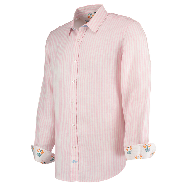 Kutch Pink Stripe Linen Shirt by Tobias Clothing. Discover the new menswear collection at The Good Place