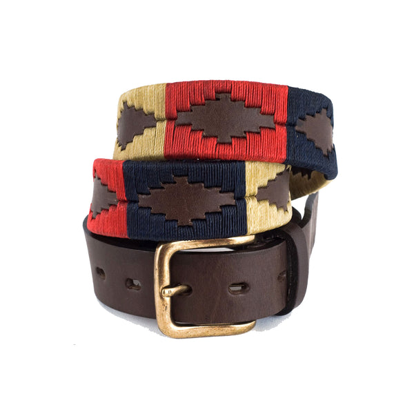 Traditional Argentina Polo Belt - Navy/cream/red - Pioneros