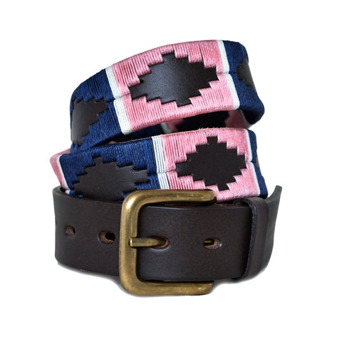 Traditional Polo Belt - Pink/navy/white stripe