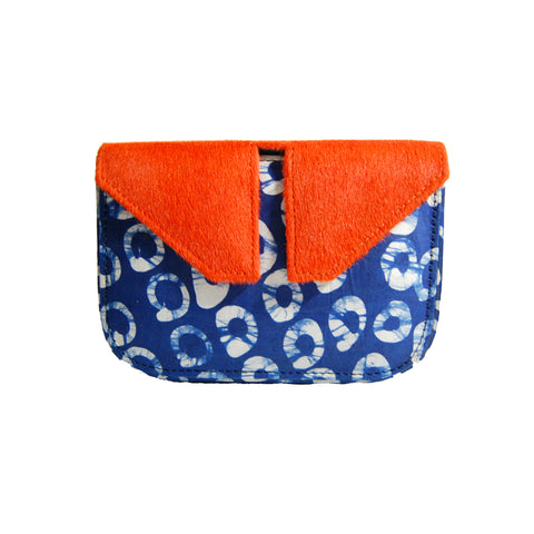 Orange Pony Hair & Circle Adire Split Box Bag