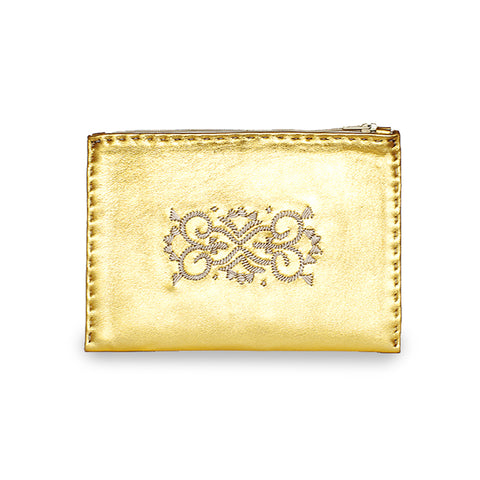 Golden Embroidered Leather Pouch