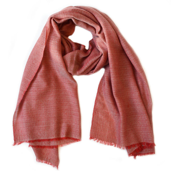 Diamond Weave Two Tone Scarf - Red