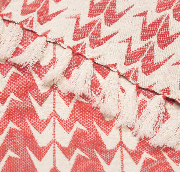 Coral Crane Woven Cotton Throw