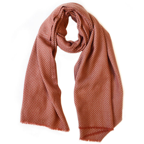 Chevron Weave Two Tone Scarf - Rusty Red & Beige