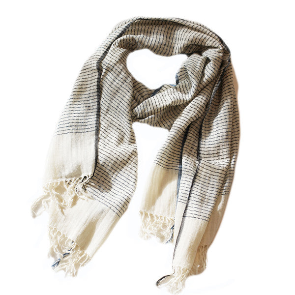 Khadi Cream Stripe Scarf