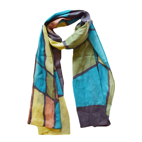 Colour Block Print Cotton Scarf