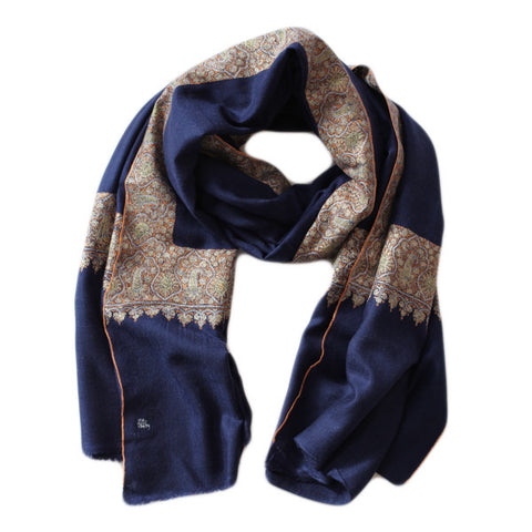 Dark Blue Hand Embroidered Shawl