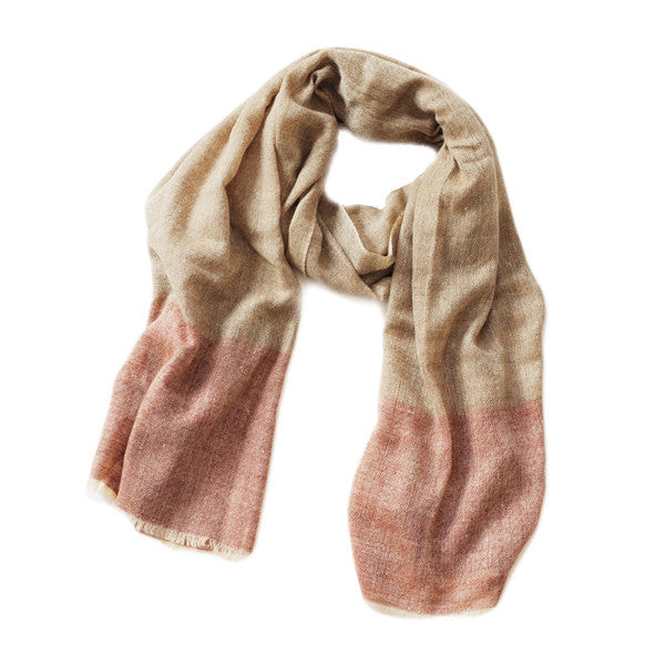 Brown and Red Cashmere Scarf