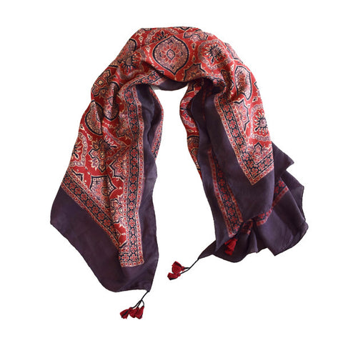 Tile Print Ajrakh Silk Scarf in Mulberry. Handmade in India by Sveze Craft. Discover the more scarves and accessories at The Good Place.