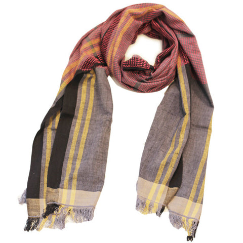Handwoven Scarf - Black, Grey, Pink & Yellow