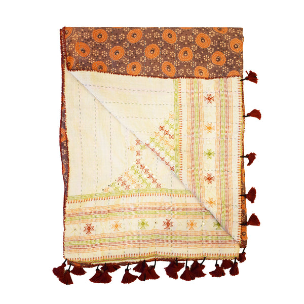 Double-sided Ajrakh Hand Embroidered & Mirror Work Wool Kantha Scarf