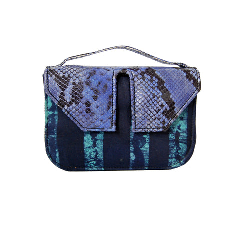 Snake Print & Stripe Adire Split Box Bag