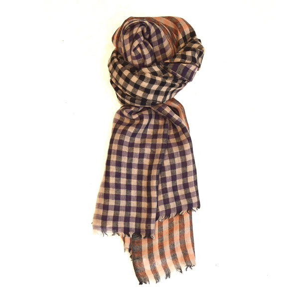 Colour Block & Check Merino Wool Scarf