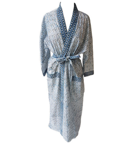 Anokhi White and Blue Long Kimono 1