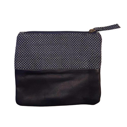 Yanet Navy Leather & Woven Pouch