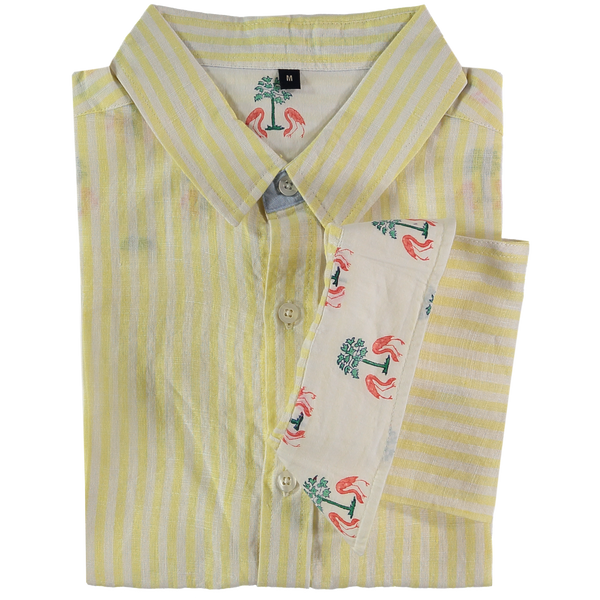 Kutch Yellow Stripe Linen Shirt by Tobias Clothing. Discover the new collection at The Good Place