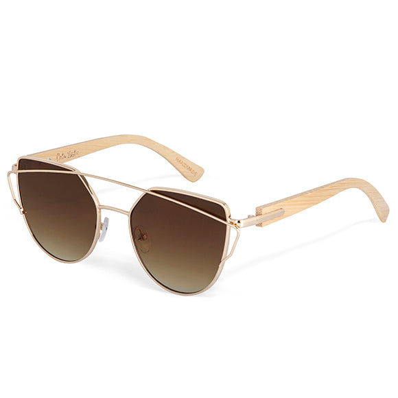 Colin Lesie Bamboo Cat Eye Sunglasses