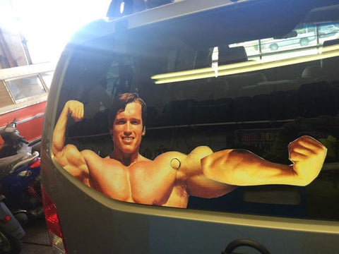 Arnold Schwarzenegger Rear Window Wiper Decal Flexing