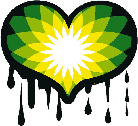 BP dripping Oil Heart Decal Sticker