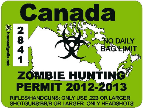 Canada Zombie Hunting Permit Decal