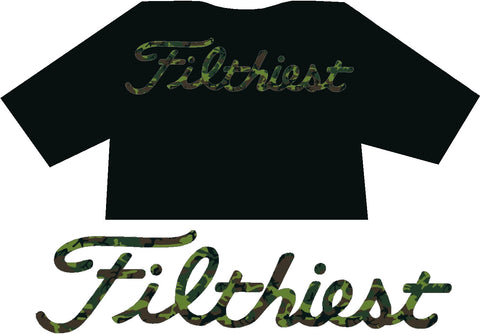 Filthiest Black Shirt Green Camo Print