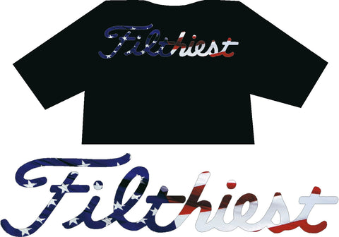 Filthiest Black Shirt with USA Flag print