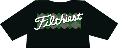 Filthiest Black Shirt with Green and Grey Argyle Print