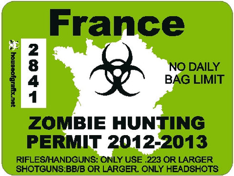 France Zombie Hunting Permit Decal