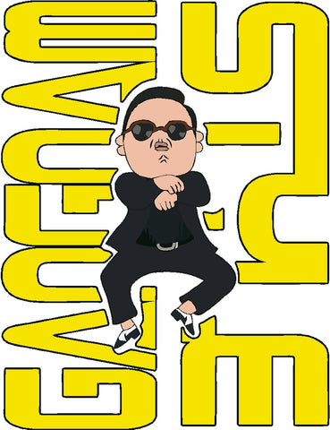 Gangnam Style Yellow Printed Decal