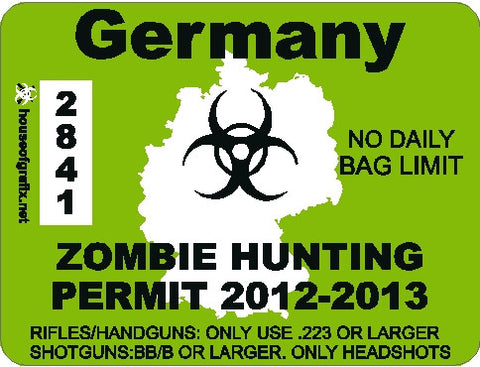 Germany Zombie Hunting Permit Decal