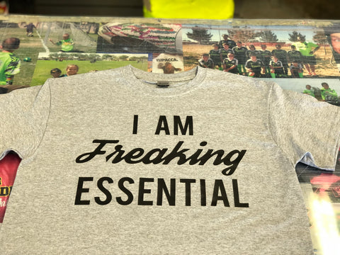 I AM FREAKING ESSENTIAL Gym Grey shirt with Black Print
