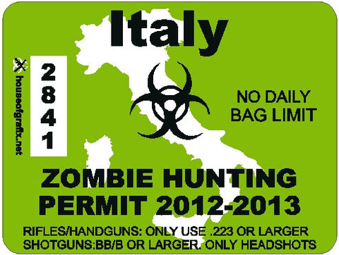 Italy Zombie Hunting Permit Decal
