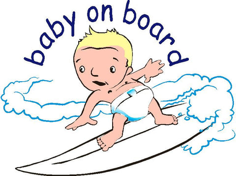 Baby on surf broad