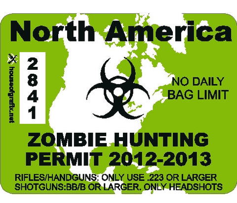 North America Zombie Hunting Permit Decal