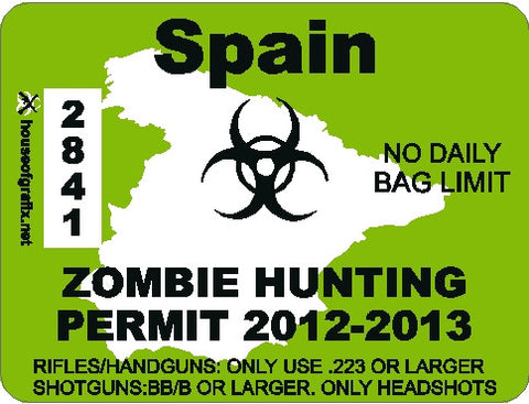 Spain Zombie Hunting Permit Decal