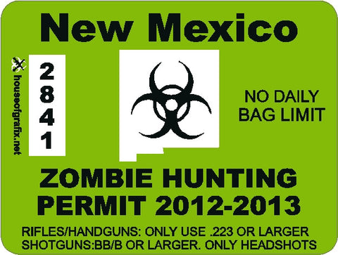 State Zombie Hunting Permit Decals