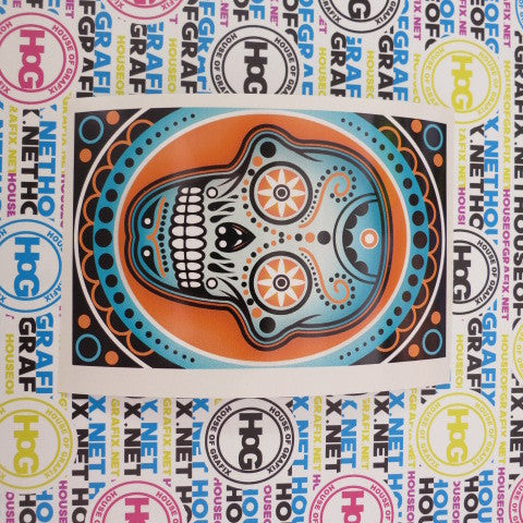 Sugra Skull Decal with Blue