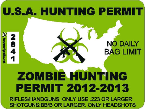 USA Zombie Hunting Permit Decal